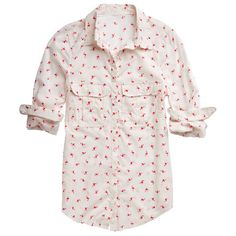 flamingo print button down boyfriend shirt ($29) ❤ liked on Polyvore featuring tops, blouses, shirts, print shirts, pattern button up shirts, print button down shirt, pink blouse and pattern shirt