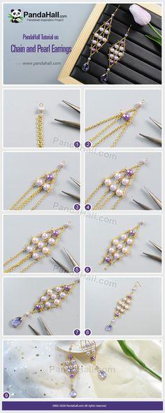 Crystal Jewelry, Wire Jewelry, Beaded Jewelry, Beaded Earrings, Pearl Earrings, Hand Work Design, Bijoux Design, Diy Mode, Mode Chic