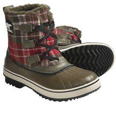 Sorel Tivoli Plaid Pac Boots - Waterproof (For Women) in Dark Olive/Black