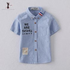 Kung Fu Hormiga Da Vuelta-abajo 2017 Nueva Llegada Camisas de Algodón para muchacho Azul Blanco Carta Casual Kids Boy Camisa Camisa Menino 2737
