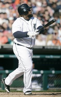 Detroit Tigers' Prince Fielder watches his solo home run in the fourth inning against the Boston Red Sox, April 7, 2012.