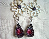 Les Trois Fleurs- Earrings Vintage Drops Flower of America- 2012 West Side Summer Avant-Garde Art & Craft Show Vendor