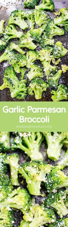 Garlic Parmesan Broccoli! The perfect side dish to any meal! Broccoli baked with olive oil and garlic then sprinkled with parmesan cheese.