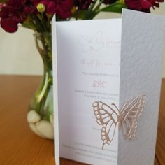 Hand made Gift Card - Using a hammer texture wardrobe style card and finished with a beautiful die cut pearlescent pink butterfly as the closure. Inside you can write your own personal message to your loved one. Memory Bears, Naming Ceremony, Pink Butterfly, Gift Vouchers, Christening, Special Occasion, Place Card Holders, Baby Shower, Closure