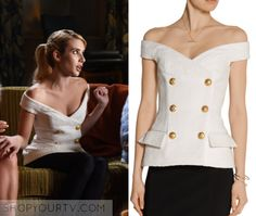 Chanel Oberlin wears this white off the shoulder jacquard Balmain top in Scream Queen 2x03
