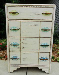 stencil painted dresser
