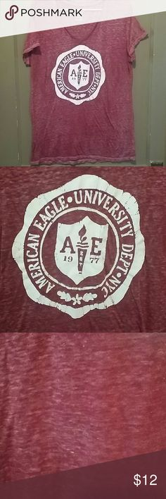 AE XL burnout t shirt American Eagle maroon and white favorite tee/burnout V neck t shirt. Light weight, recommend wearing tank under it. Good condition. Size XL. American Eagle Outfitters Tops Tees - Short Sleeve