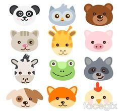 16 avatar cartoon animals vector