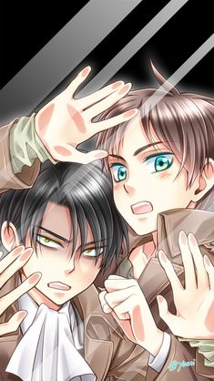 Eren: Mikasa, get me out of here, the fangirls are gonna freak. And Levi as well. Levi: Must... Escape...
