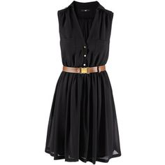 Black simple dress with belt