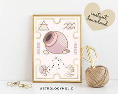 AQUARIUS Astrology Wall Art,Horoscope Cards, Zodiac Print, Tarot Cards, Star Sign,Digital Download, Astrology Print,Printable,Constellation