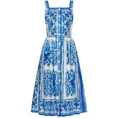 Dolce & Gabbana Majolica-print cotton dress (5.755 BRL) ❤ liked on Polyvore featuring dresses, blue pattern dress, cotton print dress, dolce gabbana dress, sundress dresses and print dresses