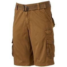 Men's Xray Belted Cargo Shorts ($38) ❤ liked on Polyvore featuring men's fashion, men's clothing, men's shorts, brown, men's apparel, mens shorts, mens clothing and mens cargo shorts