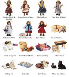 Kirsten American Girl Doll, Original American Girl Dolls, American Girl Crafts, American Doll Clothes, Girl Doll Clothes, American Girls, Barbie Clothes, Girls Dollhouse, Historical Costume