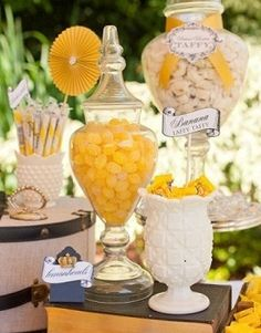 See more wedding candy buffets and party ideas at www.one-stop-party-ideas Buffet Dessert, Candy Buffet, Dessert Bars, Dessert Tables, Lolly Buffet, Party Fiesta, Festa Party, Yellow Candy, Colorful Candy