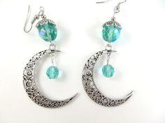 Large moon earrings by jewelryandmorebykat on Etsy