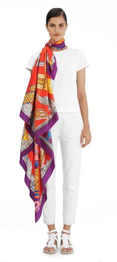 Scarf 140 Hermès | Ceintures et Liens c/w 22 Ceintures et Liens Hermes silk twill giant plume scarf 140cm From Laurence Bourthoumieux