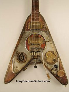 Tony Cochran Guitars Shrike guitar for sale Picture - Tony does 'steam punk' type guitars many in the $4500 msrp.