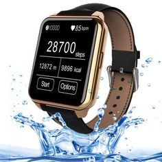 F2 1.55 inch IPS Full View HD LCD Screen Waterproof Smartwatch with Leather Brand for Smartphone, Bluetooth 4.0 / Heart Rate Sensor / Pedometer / Remote-control(Gold). MTK2502 fully compatible with IOS and Android. Bluetooth Dialer: Answer or make a call intelligently; Sync phonebook / Call records; Call / SMS vibration reminder. Bluetooth headset: Work as Bluetooth headset, make driving safer. Entertainment: Play MP3 /MP4 Sync Music and Video from your smartphone. Other main function:...