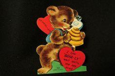 Vintage BEAR, BEE & BEE HIVE Valentine card c. 1950s