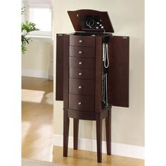 Jewelry Armoire with Flip Top Inset Mirror Marquis Cherry Jewelry