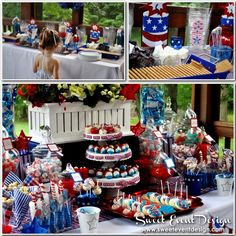 July Fourth 4th Patriotic Candy Buffet & Smores Bar  Patriotic July Fourth( 4th) Candy Dessert Buffet by Sweet Event Design  www.sweeteventdesign.com  theme:  patriotic, red-white-blue  #july4th  #redwhiteblue