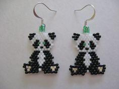 Panda earrings Seed Bead Jewelry, Bead Jewellery, Cute Jewelry, Beaded Jewelry, Animal Earrings, Feather Earrings, Crochet Earrings, Peyote Patterns, Pandas