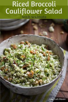 Riced Broccoli Cauliflower Salad - a healthy vegetarian low carb side with broccoli, cauliflower, walnuts, and an oil and vinegar dressing. via @lowcarbmaven