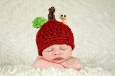 Baby Apple Hat  Newborn Photo Prop  Crochet  Red  by bitOwhimsy, $38.00