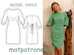 MAATPATRONEN Tricot jurk met zakjes. Elk patroon wordt altijd op uw individuele maat gemaakt.  MODEL N4413