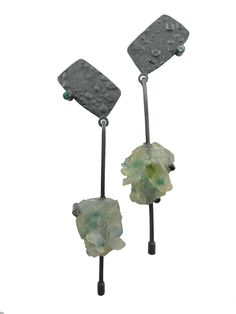 Rock Solid Earring in Green. Sterling Silver, Peridot, Lab grown Emerald, Black Tourmaline, Topaz. Made To Order. www.marcellethomas.com.au