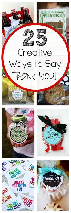 Creative & Unique Thank You Gifts Here are 25 fun and creative ways to say thank you!Here are 25 fun and creative ways to say thank you! Little Presents, Little Gifts, Craft Gifts, Diy Gifts, Cute Gifts, Best Gifts, Best Thank You Gifts, Thank You Teacher Gifts, Diy Spring