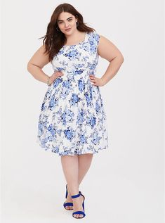 Blue Floral Challis Skater Dress, Maxi Shirt Dress, Floral Chiffon, Floral Sundress, Faux Wrap Dress, Plus Size Dresses, Plus Size Fashion, Designer Dresses, Casual Dresses, Amor