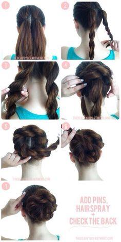 Cute braided rose bun, step by step