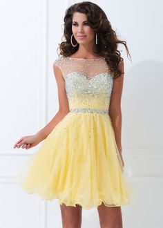 Yellow Prom Dresses | Home / Prom Dress / Prom Dresses 2015 / Cutout Open Back Beaded Yellow ...