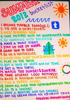summer bucket list | Tumblr