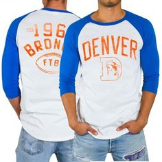 Mens Denver Broncos Junk Food White Red Zone Raglan Long Sleeve T-Shirt