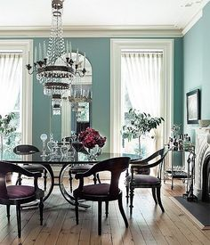 Formal dining rooms take a turn for the tropical with this coastal-blue hue.