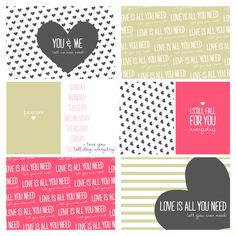 Free Printable Heart Journal Cards // Five Sixteenths Blog