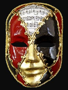 This excellent Venetian full face masquerade mask is beautifully painted in colors of antiqued gold leaf, deep red,black and musical score that are segmented by golden scrolls and bordered by gold coloured brocade. With black satin ties this mask is perfect for men. The colour segments will alter mask to mask from the image shown.