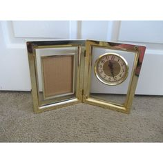 Vintage Sonnet Quartz Gold Shiny Picture Dual Frame Table Plastic Battery Operated Working Clock Decor 16""