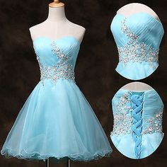 Princess Beads Blue SHORT MINI bridesmaid prom dresses evening Graduation dress