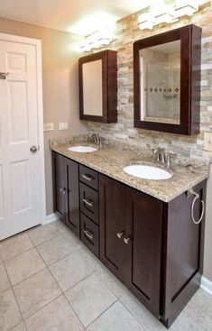 Small bathroom ideas with dark cabinets dark vanity bathroom ideas local dark vanity bathroom ideas dark Dark Wood Bathroom, Wood Bathroom Cabinets, Stained Kitchen Cabinets, Staining Cabinets, Brown Bathroom, Small Bathroom, Master Bathrooms, Bathroom Hardware, Wood Cabinets