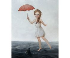 Walking The Line. surreal oil painting by Liese Chavez