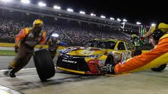 Kyle Busch pits during the race. This race was the first time all season Busch made pit stops in a Sprint Cup race.