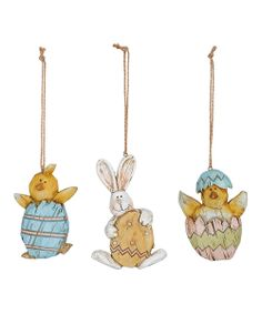Weathered Wood Bunny & Chick Ornament Set   Daily deals for moms, babies and kids