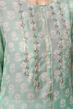 Best 12 Pure Silk Chanderi Kurta with Gota Patti handwork on front Lime potli button detailing on neck Hand block printed fine Tussar Silk Dupatta – SkillOfKing. Zardozi Embroidery, Embroidery On Kurtis, Kurti Embroidery Design, Hand Embroidery Designs, Embroidery Dress, Indian Embroidery, Neck Designs For Suits, Dress Neck Designs, Designs For Dresses