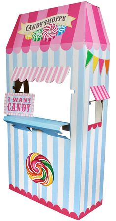 "Add a sweet accent to your party decorations with this Candy Shoppe Cardboard Stand! The stand measures 66.75""""H x 30.75""""W x 13.5""""D. Some assembly required. A street address is required for delivery"