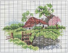 Cross Stitch House, Cross Stitch Art, Cross Stitch Designs, Cross Stitching, Cross Stitch Embroidery, Hand Embroidery, Cross Stitch Patterns, Cross Stitch Landscape, Tapestry Weaving