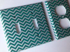 Teal Silver Chevron Striped Double Light by COUTURELIGHTPLATES